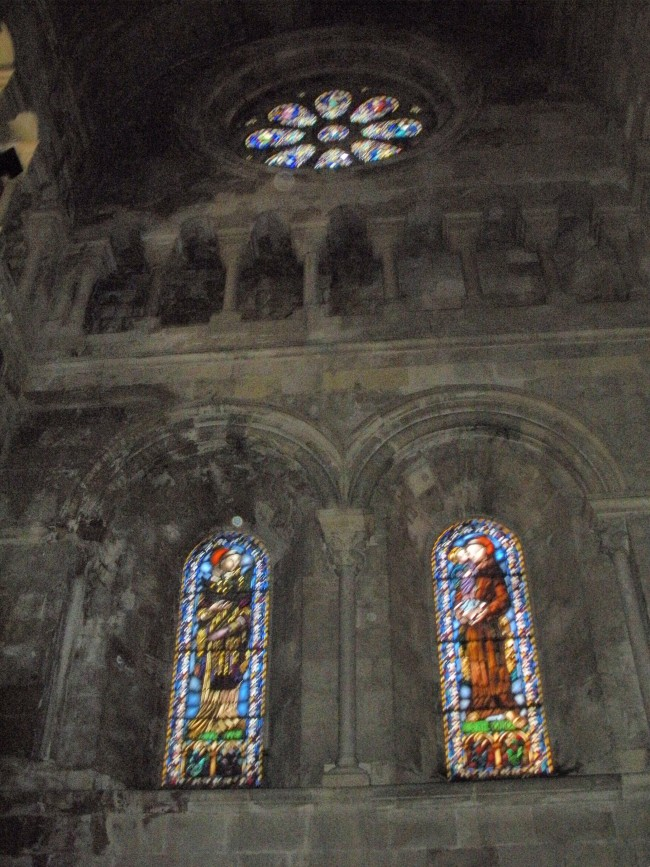 Stained glass windows inside Se Cathedral in Lisbon.