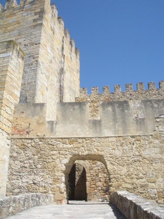 Entering the inside of St. George's Castle in Lisbon.