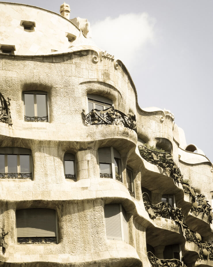 Casa Mila (La Pedrera) in Barcelona is another Gaudi designed building often visited on walking tours.