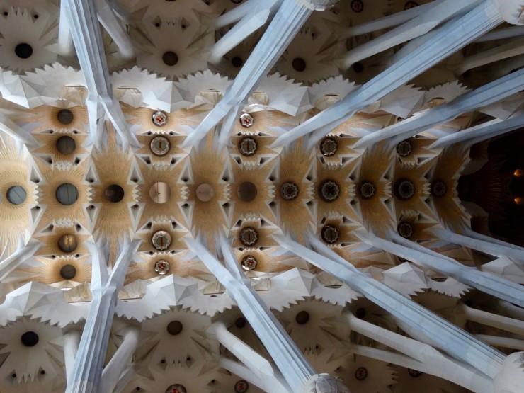 The ceiling of the Sagrada Familia.