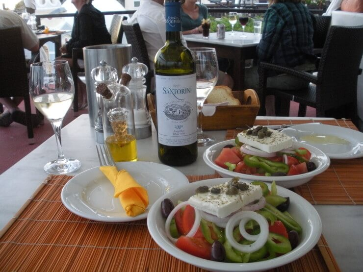 One Day in Santorini - Greek Salad and Santorini Wine