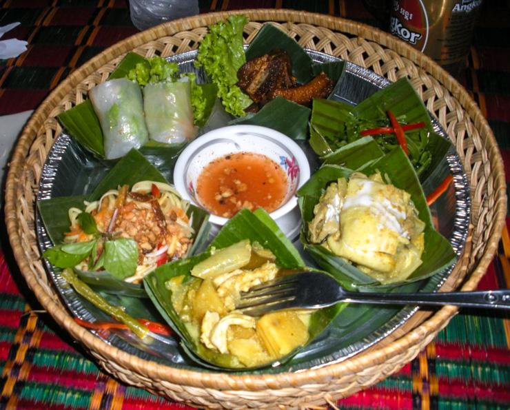 Khmer cuisine sampler at Angkor Palm Restaurant.
