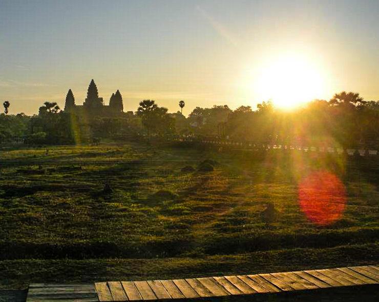 Angkor Wat aglow in early morning sunlight.