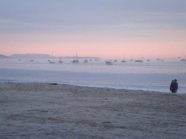 Hazy ships at sea during sunset in Santa Barbara