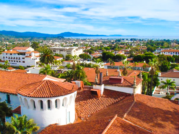 View from the clock tower of the Courthouse in Santa Barbara.