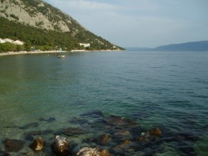 View from the Croatia beach in Gradac, Croatia
