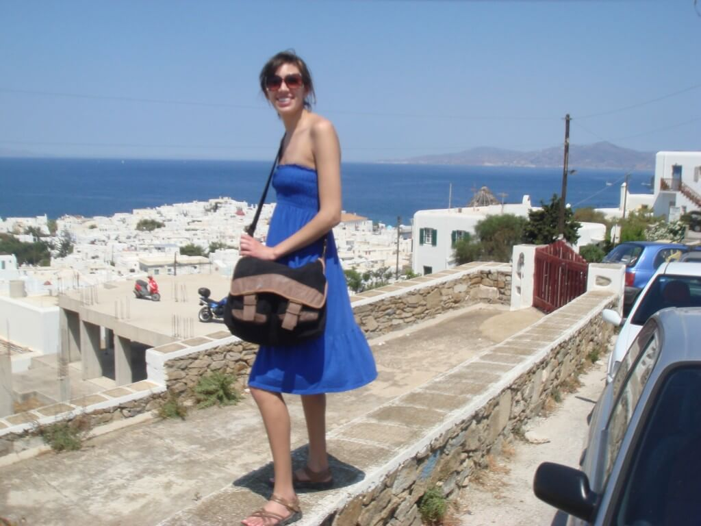 Cool, but covered wearing a sundress in Mykonos, Greece during my Mediterranean cruise.