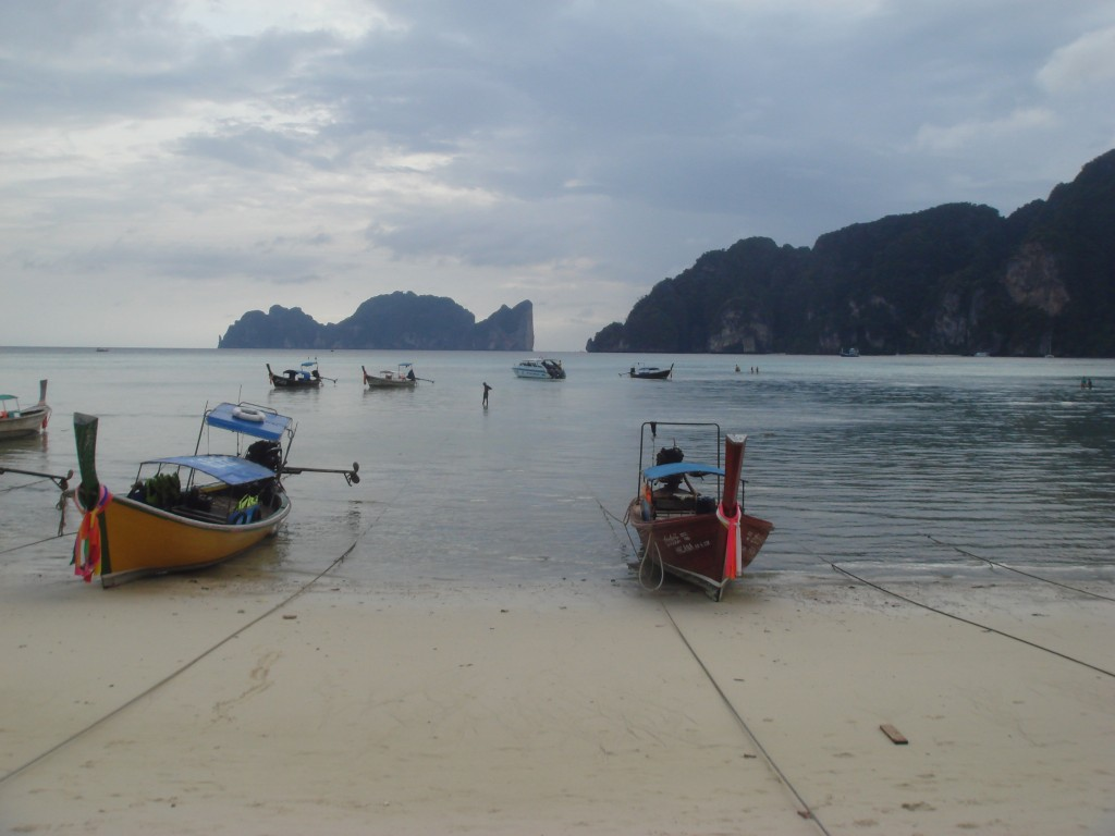 Long Boats with Ko Phi Phi Leh in the distance.