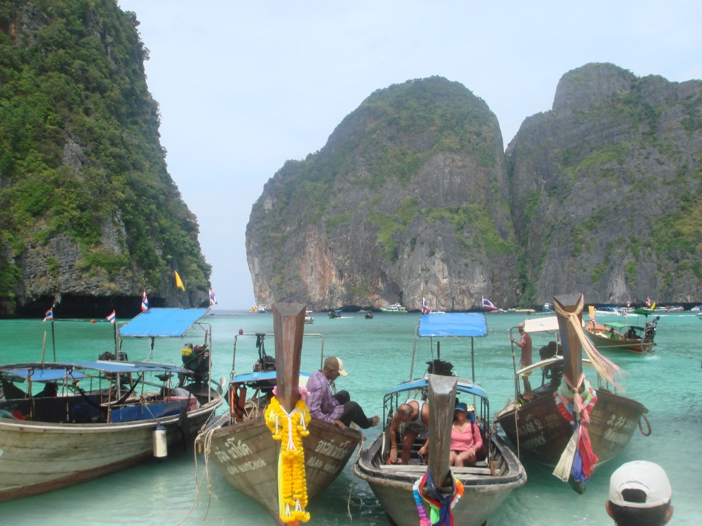 Longtail boats docking up after we reached the beach of Ko Phi Phi Leh.