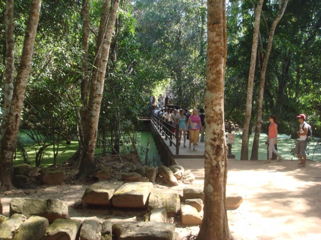 "The bridge leading to the ""Tomb Raider"" ruins at Angkor."