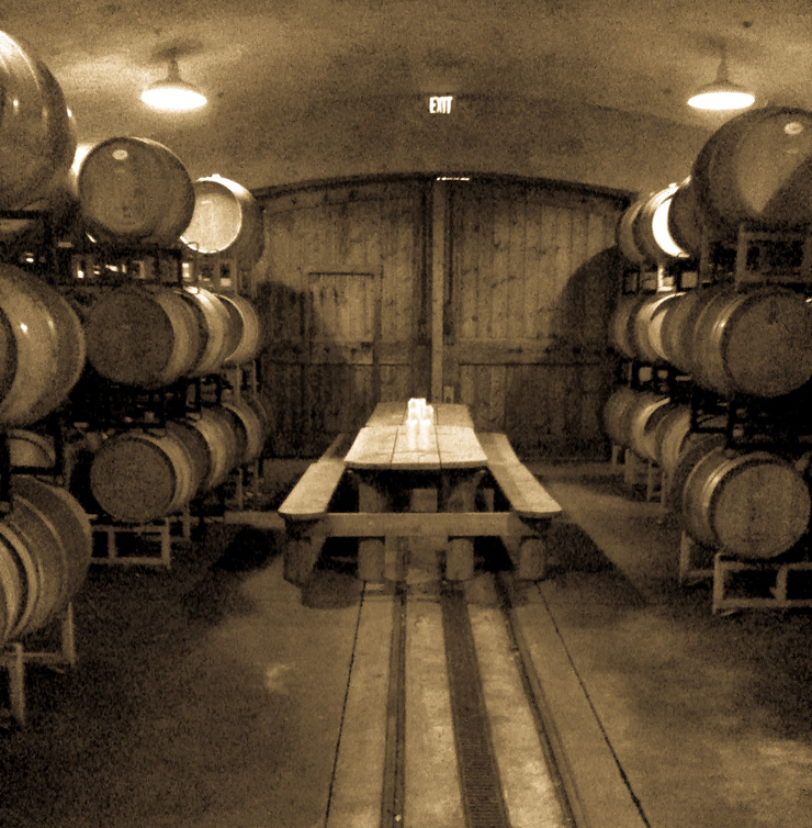 Wine barrel filled tasting room in Napa Valley.