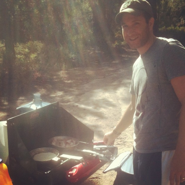 Tom making us some pancakes and bacon in the early morning light. It's annoyingly hard to sleep in while camping.
