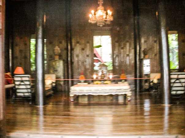 The inside of the living room in the Jim Thompson House taken from outside the entryway doors as visitors are not allowed to take pictures inside the house. My camera was not a fan of this apparently, hence the blurry photo! But it still gives you a glance at the decor you'll see.