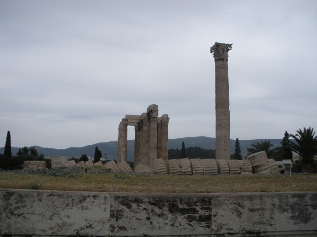 One Day in Athens: A fallen, broken column at the Temple of the Olympian Zeus.