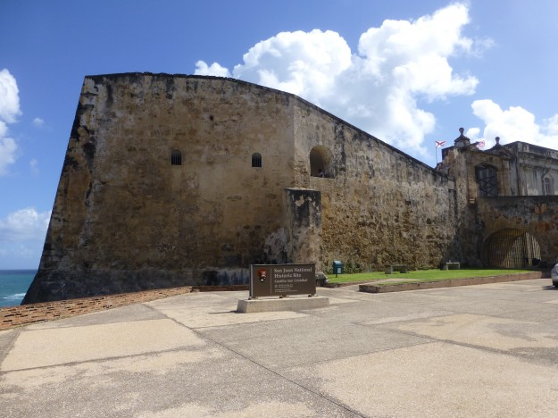 On the way to the upper level entrance to the Castillo San Cristobal fort.