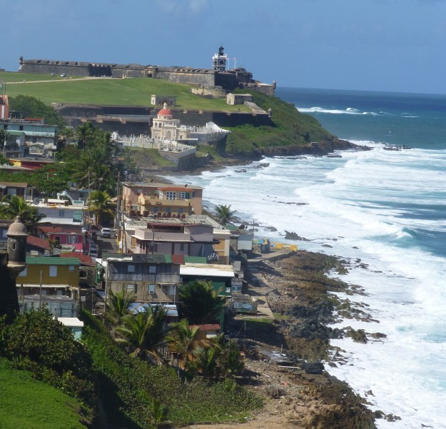 A view of the San Juan coast from Castillo San Cristobal looking onward to El Morro fort.