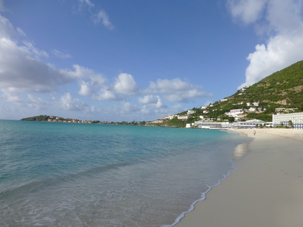 St. Maarten Taxi: The coastline leading to the French side of the island, where my taxi ride would take me.