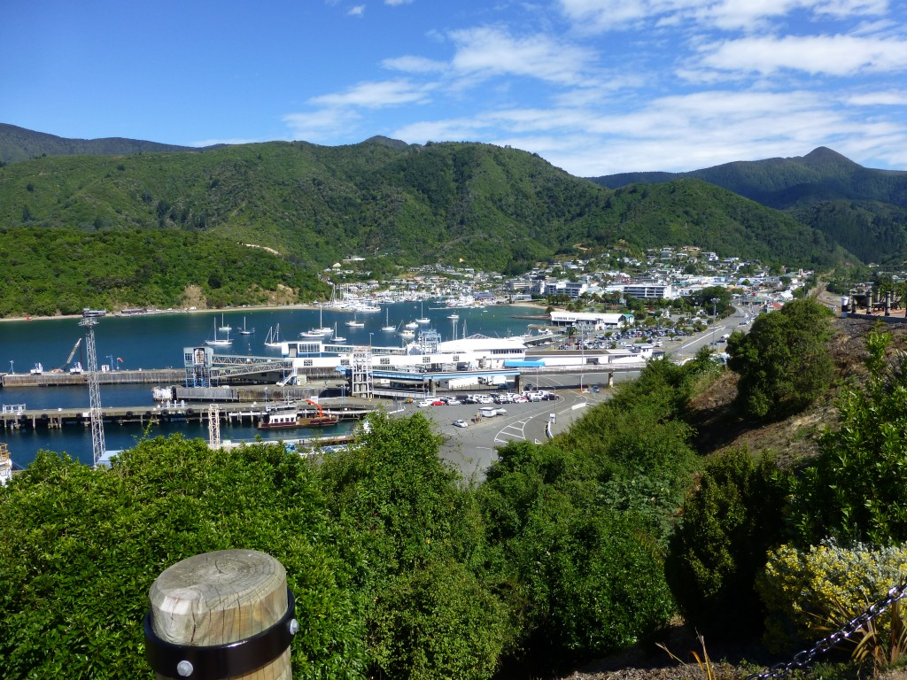 Picton New Zealand: The harbor and town of Picton as seen from the road above.