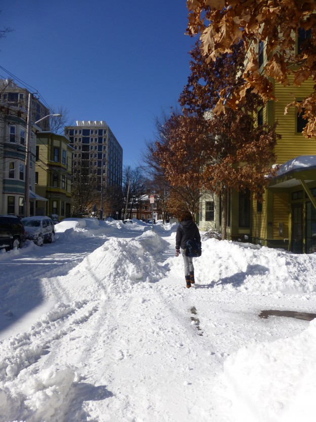 Photos of a Blizzard, the Aftermath: Walking down a snow covered sidewalk.