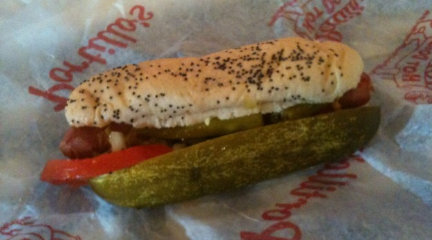 An eclectic mix of toppings (at least to me) makes up a Chicago style hot dog.