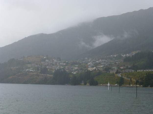 Rainy, but pleasant view, from the beach next to the Queenstown Gardens.