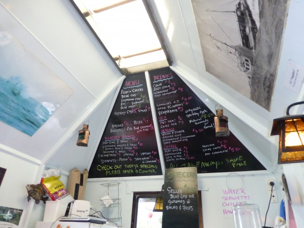 The blackboard menu of The Cray Pot restaurant.