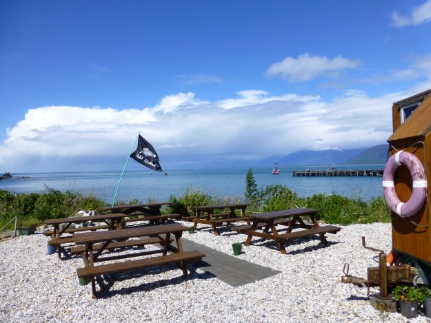 The view from the outdoor tables at The Cray Pot restaurant in New Zealand.