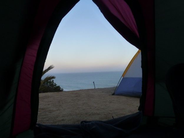 Camping in Malibu: Not a shabby view from inside the tent.