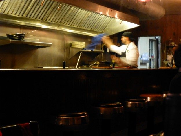 The chef in the open kitchen at Black-Eyed Susan's doing his thing.