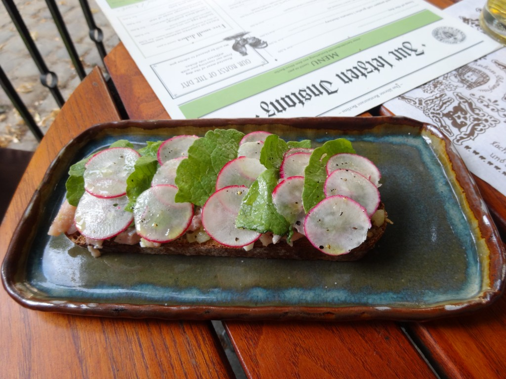 Zur Letzten Instanz Chopped Herring and Onion with Radish Leaves