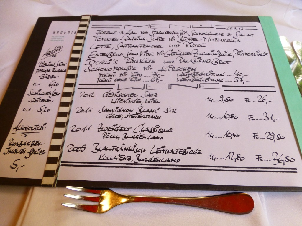 The menu at Broeding Restaurant in Munich