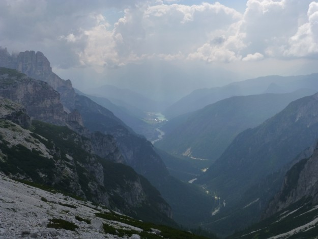 Stunning scenery seen from the Tre Cime trail in the Dolomites.