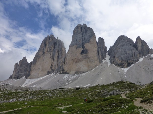 Tre Cime peaks seen from Rifugio Langalm.