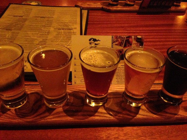 Tasting flight at Coronado Brewing Company.