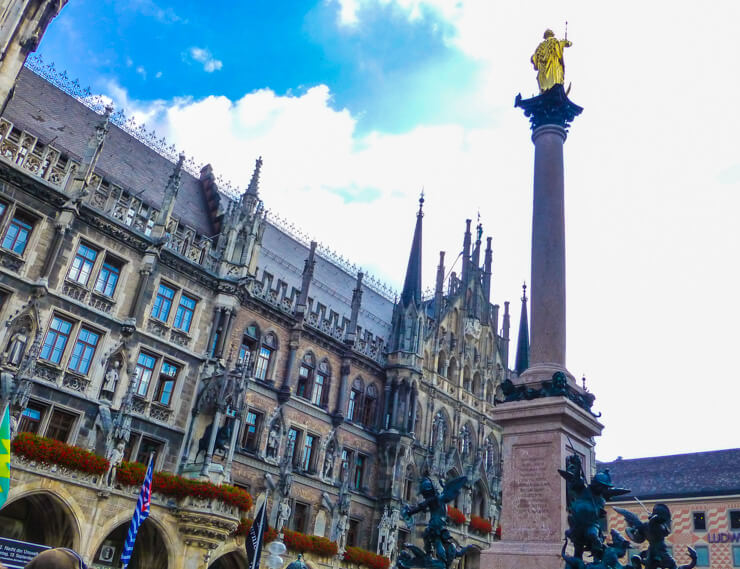 Marienplatz Square in Munich with New Town Hall in the background.