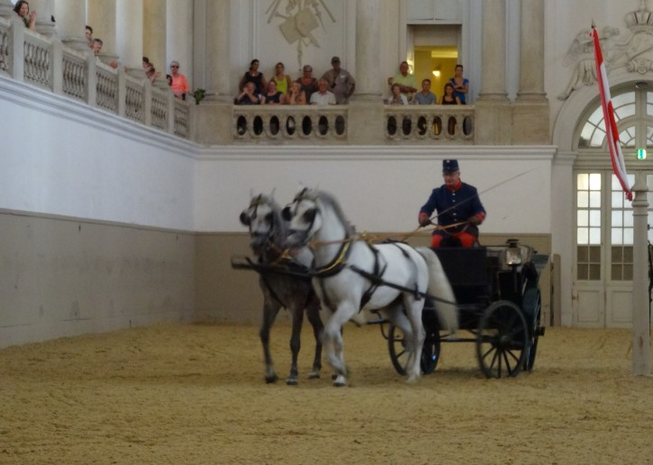 A traditional horse and carriage at Vienna's Spanish Riding School.
