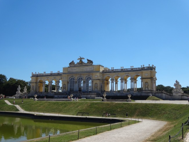 The Gloriette observation terrace on the top of the hill of Schonbrunn Palace where Gloriette Cafe is housed.