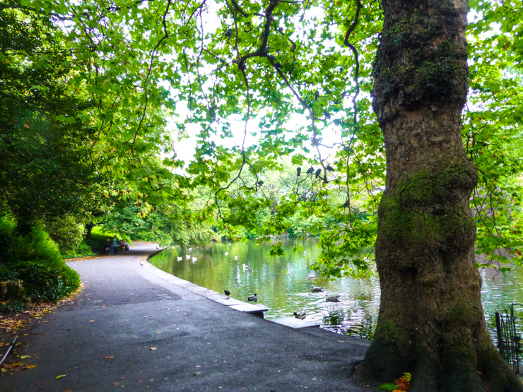 St. Stephen's Green in Dublin -- a lovely, lushly green place for a walk.