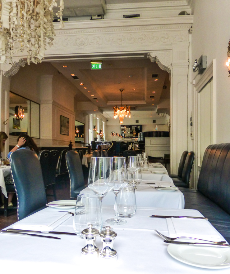 The restaurant at Cliff Townhouse in Dublin, Ireland