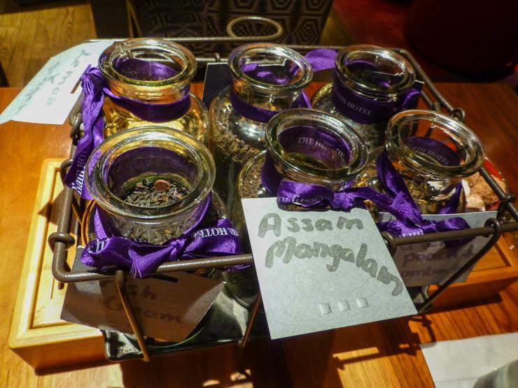 Yummy tea selection at Fitzwilliam Hotel in Dublin, Ireland