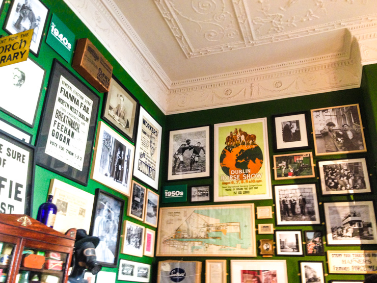 One of the rooms full of memorabilia and historic items at the Little Museum of Dublin.