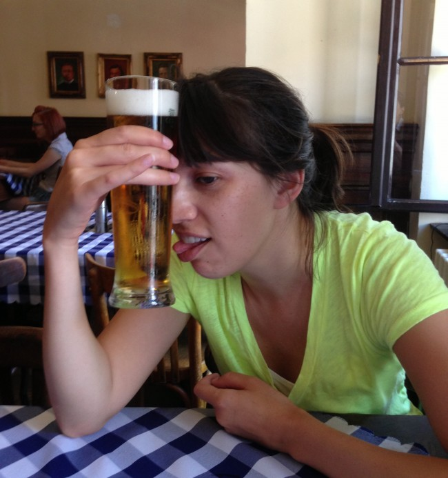Beer on Forehead: Trying to cool down in Europe.