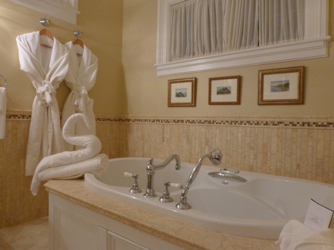 Jacuzzi Tub in the Carriage House room at Cliffside Inn in Newport.