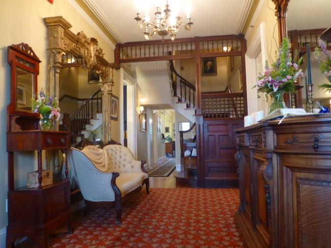 The foyer at Cliffside Inn in Newport, Rhode Island.
