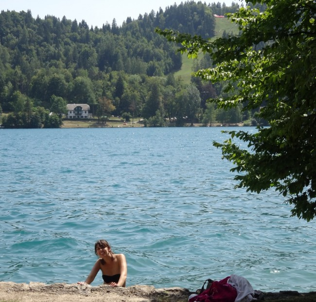Swimming in Lake Bled in Slovenia: a good way to beat the Europe summer heat.