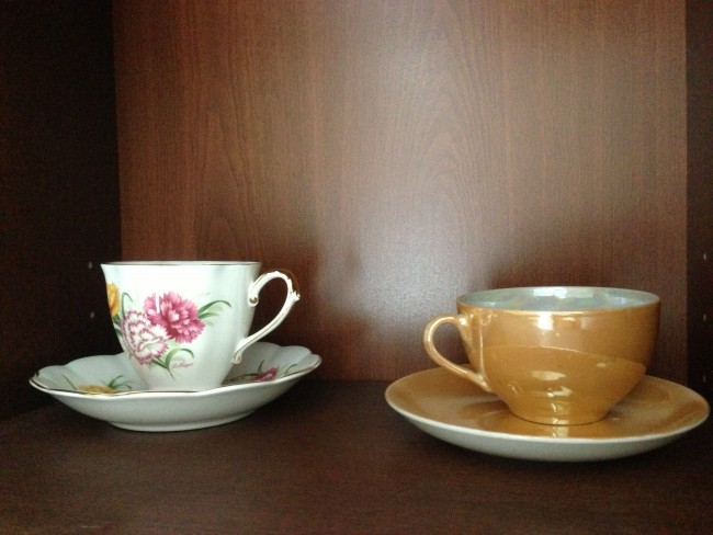 My teacup from Grandma's cupboard and another one my mom gave me.