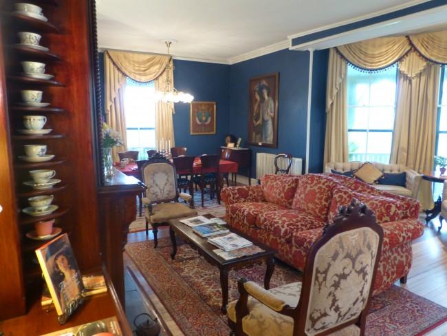 Teacups in the sitting room at Cliffside Inn in Newport, RI.