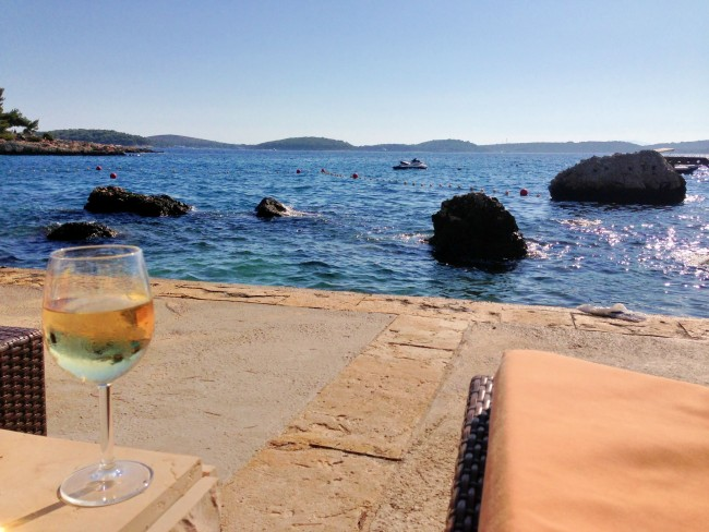 Podstine Hotel in Hvar: Now this is the way to enjoy a glass of wine...