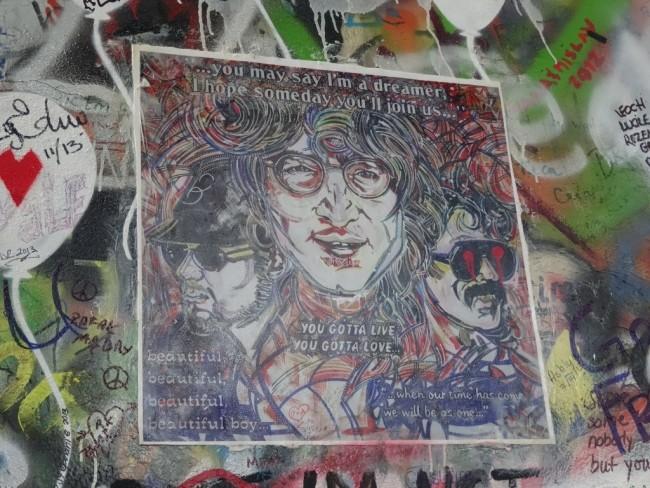A mural of John Lennon.