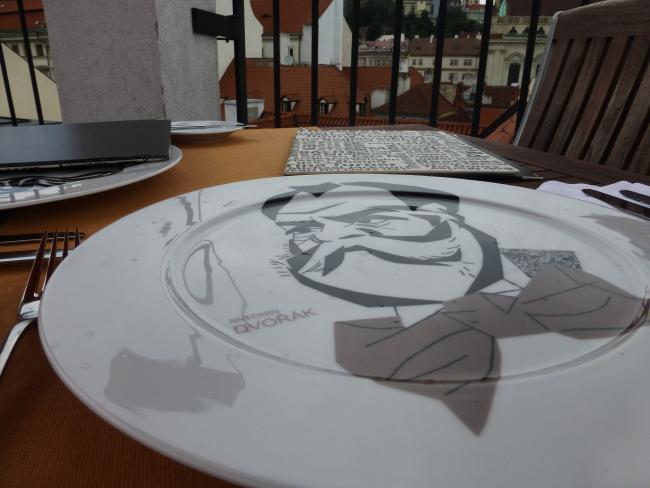 Josef Blecha Caricature Plates at Coda Restaurant in Aria Hotel Prague
